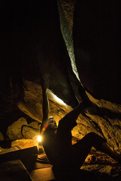 Rock Climbing Photo: Bob setting up on Bring the Rucus