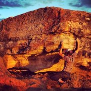 Rock Climbing Photo: Reggie, about to make his way around the corner . ...