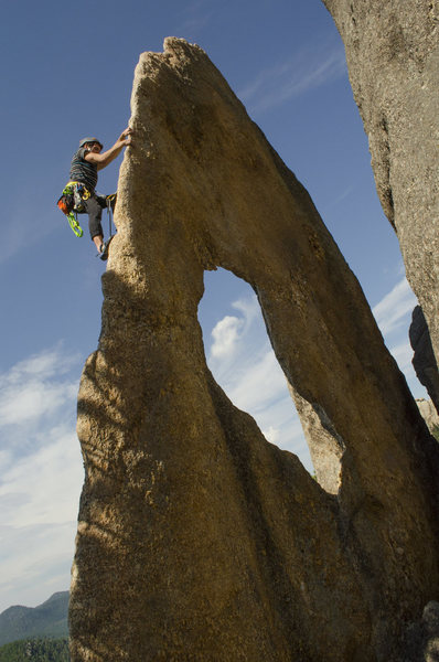 Rock Climbing Photo: Laybacks up the flake