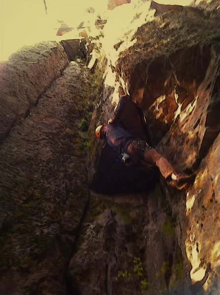 Rock Climbing Photo: David Thompson entering the crux of In Godzilla We...