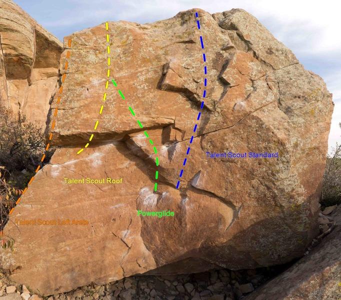 Talent Scout boulder problems (L->R):<br> Talent Scout Left Arete,<br> Talent Scout Roof,<br> Powerglide,<br> Talent Scout Standard.
