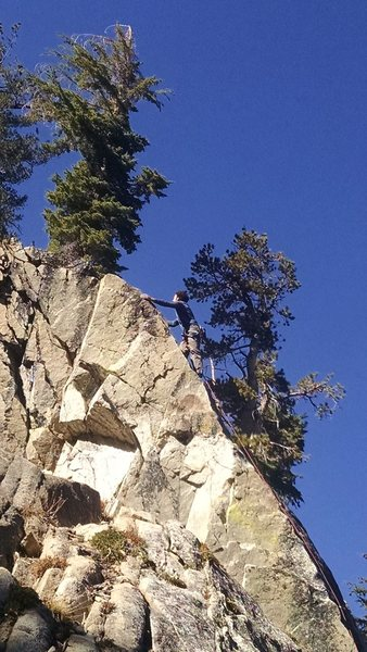 Rock Climbing Photo: Justin Colville on the fun top move to the anchors