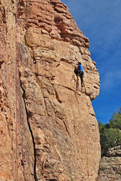 Rock Climbing Photo: Frank on Commitment a couple moves above the trave...