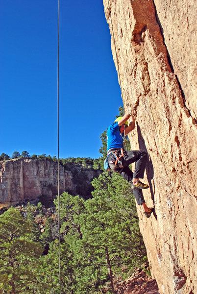 Frank climbing John Cruiser Melloncrimp.