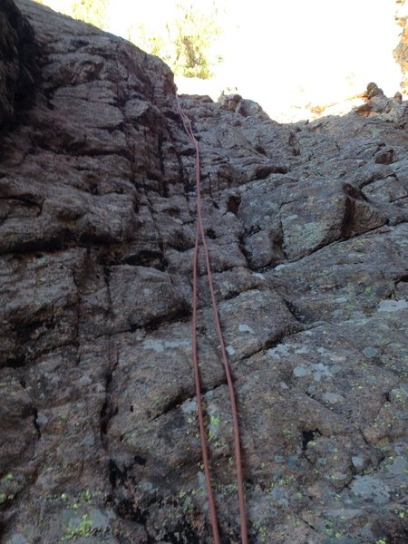Rappel gully that is between Park View Dome and The Ranch Hand.  I also downclimbed it.  5.2 or so.