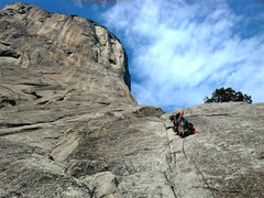 Buck Yedor (Climbing YOSAR) taking the first few pitches of The Nose of El Capitan.