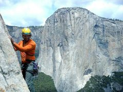 Rock Climbing Photo: Another climber coming up behind Andrew on the Eas...