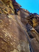 Rock Climbing Photo: Above the (unclipped) bolts on Pitch 1.