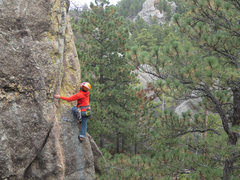 Rock Climbing Photo: Mike about to hit the arete