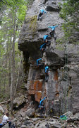 Rock Climbing Photo: Top-roping Canyon Dreams (5.11b), the leftmost cli...