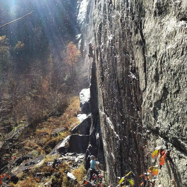 Dylan Randall on lead, myself on belay. An amazing route, a must do if you're in the daks a lot.
