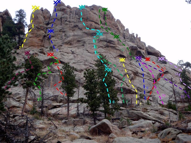 Rock Climbing Photo: Right side, Main Crag, Crosier Mountain Crags.  1)...