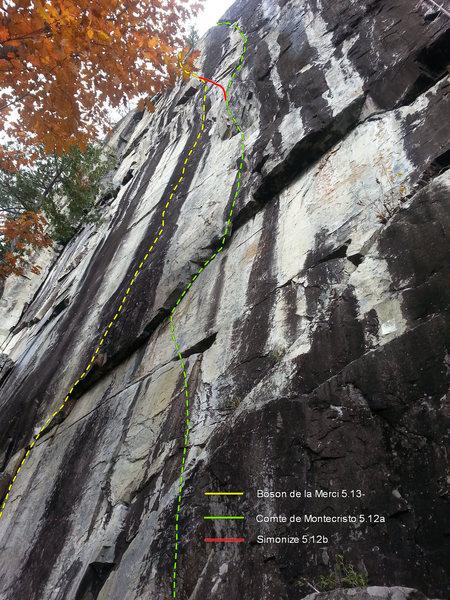 Rock Climbing Photo: Boson de la Merci 5.13- Simonize 5.12b Comte de Mo...