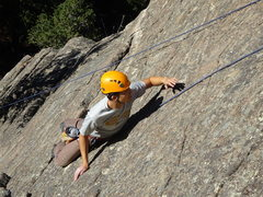 Rock Climbing Photo: View from the top. Eliot making his way to the anc...