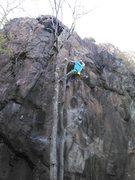 Rock Climbing Photo: Finishing up the FFA