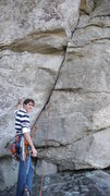 Rock Climbing Photo: Oakley at the start of Stannard's Crack.