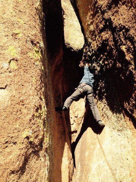 Rock Climbing Photo: Zach Keeney working through the bulge.