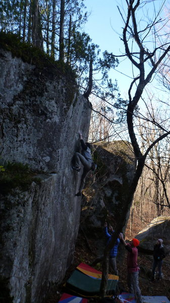 Rock Climbing Photo: Dobbe going for it.