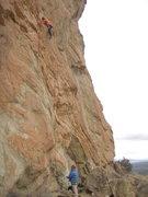 Rock Climbing Photo: Nick M. getting onto the ledge
