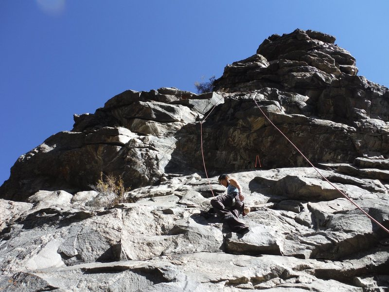 Rock Climbing Photo: Top roping this section to get to the 5.10 above. ...
