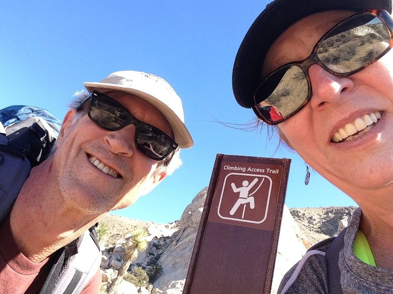 Hubby and I in Joshua Tree- Still climbing together after 30 years of marriage!