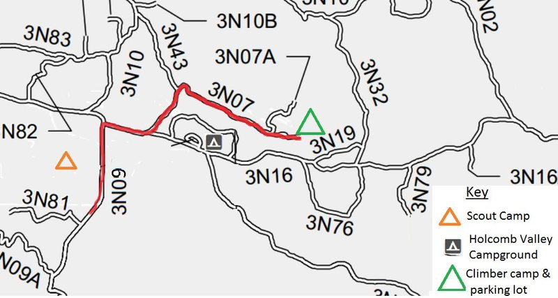 Straight-forward route from scout camp to the climber campgrounds and parking lot. From here you can walk to the routes