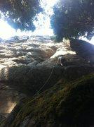 Rock Climbing Photo: Eugene working his way towards the seam on The Mot...