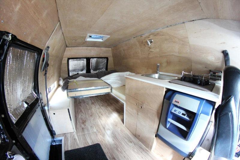 Inside van.