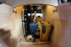 Rock Climbing Photo: Inside cabinet (water pump/strainer, stove, 5lb pr...