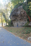 The first crag near Lincoln and Ridge. Danger Dam Boulder. There are about 4 or 5 clean routes.