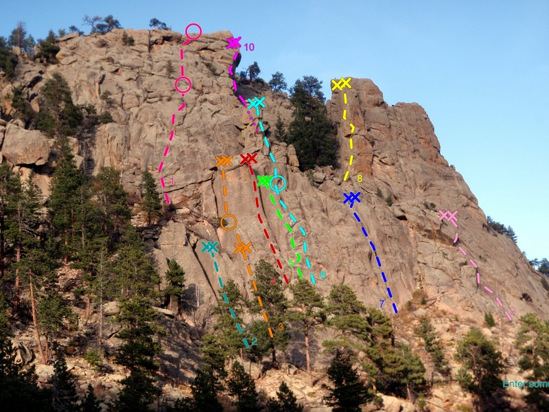 Left side, Main Crag, Crosier Mountain Crags:<br> <br> 1) Summit Fever, 5.8 (on Upper Tier Main Crag).<br> 2) Knob Walk, 5.4.<br> 3) Squat Tower, 5.9+.<br> 4) Knob Jollies, 5.6.<br> 5) Cam-ouflage, 5.7.<br> 6) Totem Tower, 5.10a.<br> 7) Spare Rib, 5.9.<br> 8) Swingtime, 5.11a.<br> 9) Levitation, 5.10/5.11.<br> 10) The Outer Edge, 5.10d (on Upper Tier Main Crag).