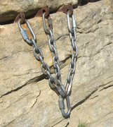Rock Climbing Photo: The dubious 3-pin anchor at the top. Having  to fe...