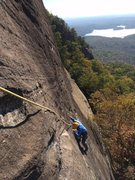 Rock Climbing Photo: Mike crimpin' and pimpin' to the anchors, Lakeview...