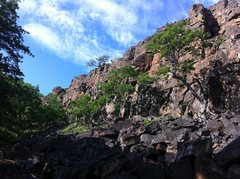 Rock Climbing Photo: Looking from the road left down the approach trail...