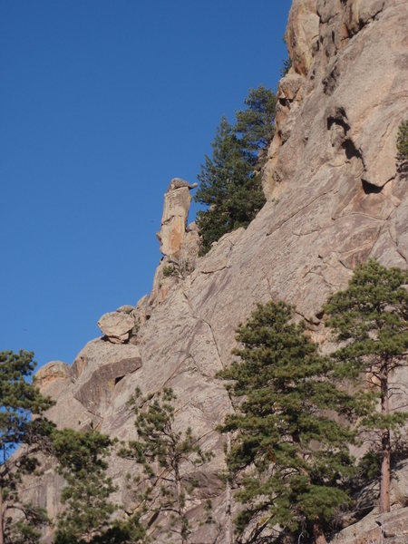 Totem Tower from the east.  The route climbs the left skyline.