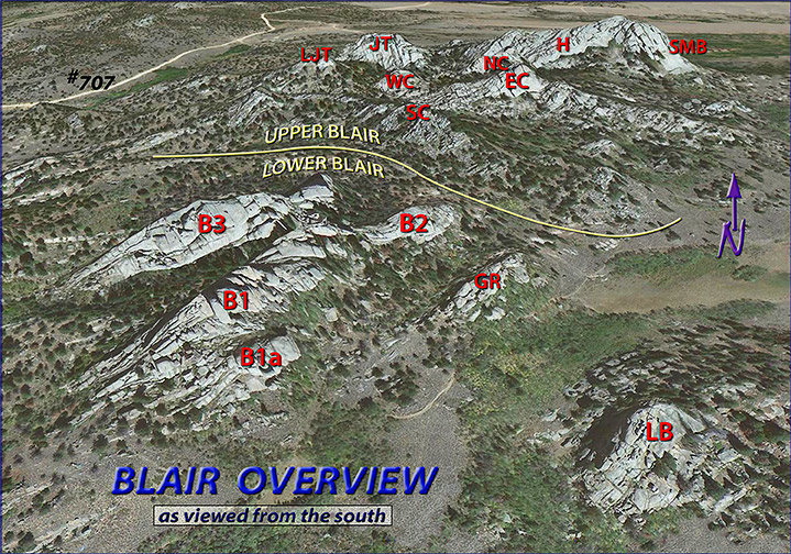 BLAIR OVERVIEW:<br> <br> A nearly 3D view of the Blair Area as seen from above. An arbitrary (yellow) line has been drawn to indicate how Upper Blair actually sits significantly higher than Lower Blair, making it quite easy to separate the two for identification purposes as well as their inclusive formations. Each (ie both 'Upper' and 'Lower' Blairs) will be treated separately at higher magnification with more detail on their respective pages.<br>  <br> Abbreviations:<br> <br> Upper Blair:  EC=East Corner, H=The Heap, JT=John's Tower, LJT=Little John's Tower, NC=North Corner, SC=South Corner, SMB=Spectreman Buttress, WC=West Corner.<br> <br> Lower Blair:  B1=Blair 1, B1a=Blair 1 Annex, B2=Blair 2, B3=Blair 3, GR=Goldirocks, LB=Little Blair.<br> <br> #707=USFS Road 707.