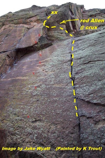 Concentric, 5.10c PG-13.<br> <br> Image by Mountain Project contributor<br> Jake Wyatt.