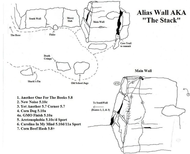 A quick and dirty topo of Alias Wall.<br> <br> *Yet Another 5.7 Corner is actually called Erica's Sister, Right? The true FA was by Jeff Wagner/Jim Plumpton in 2004.