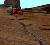 Rock Climbing Photo: Suzy Williams on lead... 0.4 cams - #2's .