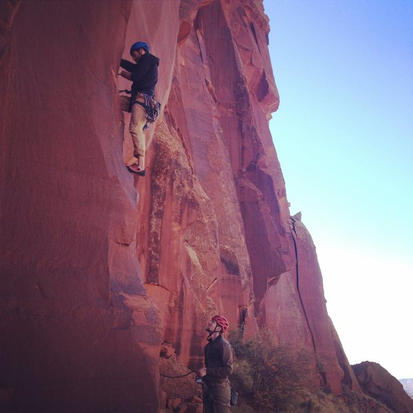 "Rock Climbing Photo: Patrick W. starting up ""Prepare to Die"",..."