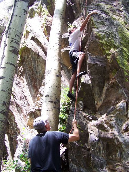 Rock Climbing Photo: Big Lake White Mountains Az. 7-07 some good sport ...