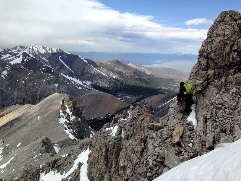 Rock Climbing Photo: Kevin on the descent down the Borah's northwest ri...