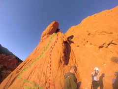 Rock Climbing Photo: Looking up the route.