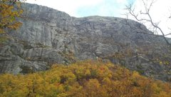 Rock Climbing Photo: Looking from hiking trail .... the route starts ri...