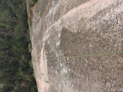 Rock Climbing Photo: Looking down upon the route while coming over the ...