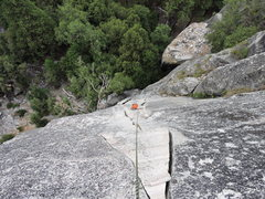 Rock Climbing Photo: Looking down upon the 2nd pitch.  Nice long hand a...