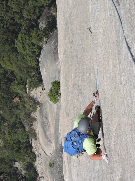 """Walking the tightrope"" at the top of pitch 6."