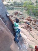 Rock Climbing Photo: Jeff clipping the third bolt on The Edibles. The c...