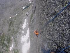 Rock Climbing Photo: Doing the crux in the rain!  Amazing exposure.  Gr...