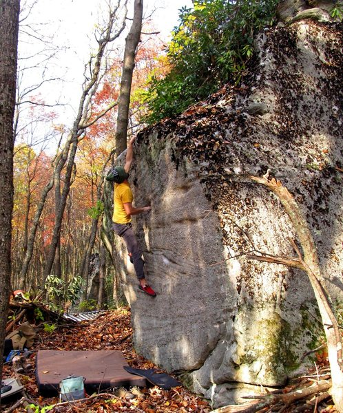 """Rock Climbing Photo: Parlier on the FA of """"Lost Track"""""""